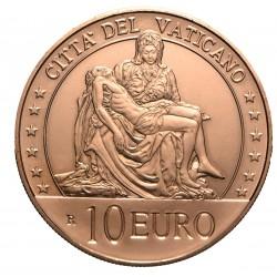 .VATICANO 10 EUROS 2020 ESTATUA DE LA PIEDAD DE MIGUEL ANGEL Serie ARTE y FE MONEDA DE COBRE SC