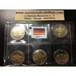 2 EUROS 2007 ALEMANIA IGLESIA DE MECKLENBURG A+D+F+G+J SC MONEDA BIMETALICA 5 CECAS