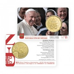 . 2015 VATICANO 50 CENTIMOS COINCARD Nº 6 COIN CARD EURO