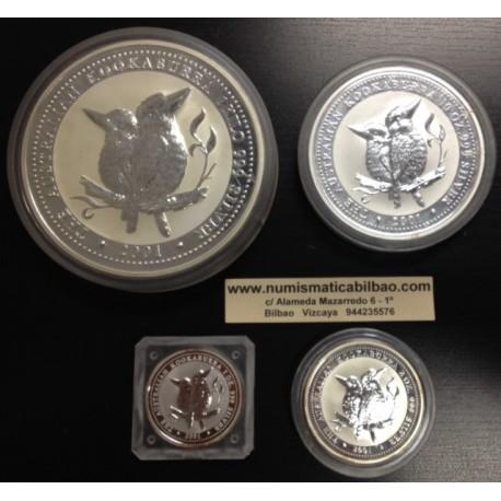 1+2+10+30 DOLARES (1 KILO) 2001 AUSTRALIA KOOKABURRA PLATA PURA OZ TROY SILVER COINS