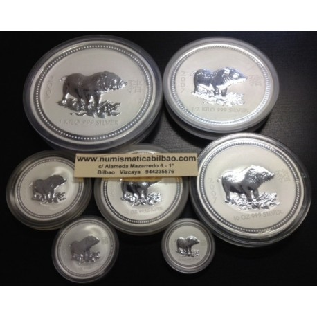@OFERTA@ AUSTRALIA 0,50 + 1 + 2 + 8 + 10 + 15 + 30 DOLLARS 2007 LUNAR SERIE YEAR OF THE PIG SILVER 67 ONZAS OZ
