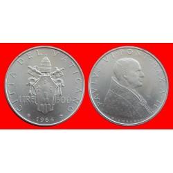 VATICANO 500 LIRAS 1964 PAPA PABLO VI PLATA SC KM*83.2 Silver