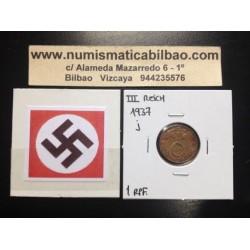 GERMANY 1 REICHSPFENNIG 1937 J ESVASTICA NAZI III REICH XF-