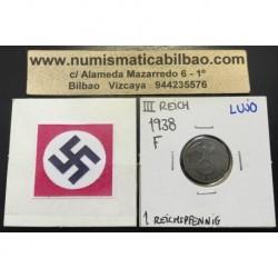 ALEMANIA 1 REICHSPFENNIG 1938 F ESVASTICA NAZI III REICH MONEDA DE COBRE @LUJO@
