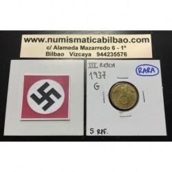 ALEMANIA 5 REICHSPFENNIG 1937 G ESVASTICA NAZI III REICH @RARA@