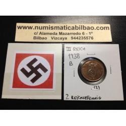 ALEMANIA 2 REICHSPFENNIG 1938 B ESVASTICA NAZI III REICH MONEDA DE COBRE SC- 2