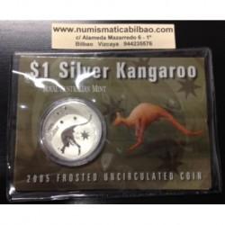 AUSTRALIA 1 DOLAR 2005 CANGURO PLATA Silver Blister Känguru $1