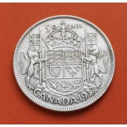 .CANADA 50 CENTAVOS 1939 JORGE VI PLATA SILVER CENTS XF-