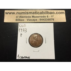 ESTADOS UNIDOS 1 CENTAVO 1973 P ABRAHAM LINCOLN KM.201A MONEDA DE COBRE SC USA 1 Cent coin
