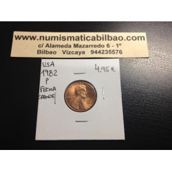 USA 1 CENTAVO 1982 P LARGE DATE LINCOLN COPPER UNC US