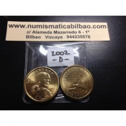 ESTADOS UNIDOS 1 DOLAR 2002 D INDIA SACAGAWEA MONEDA DE LATON SC USA $1 Dollar coin