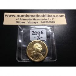 @RARA@ ESTADOS UNIDOS 1 DOLAR 2005 S INDIA SACAGAWEA KM.310 MONEDA DE LATON PROOF US $1 DOLLAR COIN