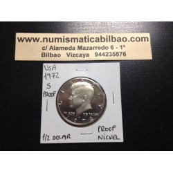 ESTADOS UNIDOS 1/2 DOLAR 1972 S KENNEDY NICKEL PROOF HALF DOLLAR