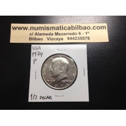 ESTADOS UNIDOS 1/2 DOLAR 1974 P KENNEDY KM.A202B MONEDA DE NICKEL SC USA HALF DOLLAR