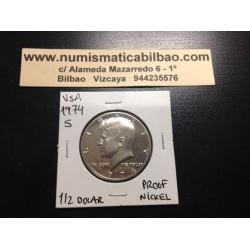 ESTADOS UNIDOS 1/2 DOLAR 1974 S KENNEDY NICKEL PROOF HALF DOLLAR