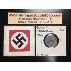 .BOHEMIA y MORAVIA 20 HALERU 1943 Hoy Chekia ZINC III REICH NAZI