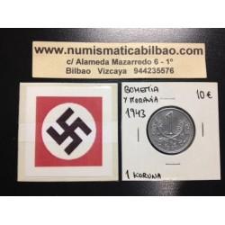 BOHEMIA y MORAVIA 1 KORUNA 1943 LEON Hoy Chekia KM.4 MONEDA DE ZINC OCUPACION NAZI III REICH WWII
