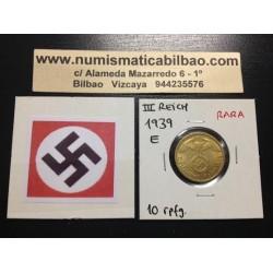 ALEMANIA 10 REICHSPFENNIG 1939 E ESVASTICA NAZI LATON EBC+