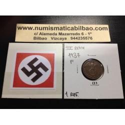 GERMANY 1 REICHSPFENNIG 1937 F ESVASTICA NAZI III REICH XF 1