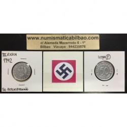 ALEMANIA 50 REICHSPFENNIG 1942 F AGUILA ESVASTICA NAZI III REICH