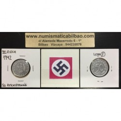 ALEMANIA 50 REICHSPFENNIG 1942 F ESVASTICA NAZI III REICH MONEDA DE ALUMINIO