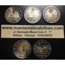 2 EUROS 2014 ALEMANIA IGLESIA EN SACHSEN BAJA SAJONIA SC A+D+F+G+J 5 MONEDAS SIN CIRCULAR
