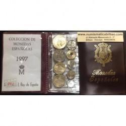 ESPAÑA CARTERA 1997 SC 1+5+10+25+50+2x100+200+500 PESETAS 9 MONEDAS