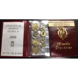 ESPAÑA CARTERA 1998 SC 1+5+10+25+50+2x100+200+500 PESETAS 9 MONEDAS