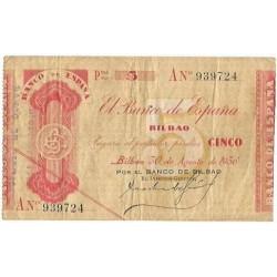 1936 EUSKADI 5 PESETAS BANCO de VIZCAYA Serie A 939724 MBC+