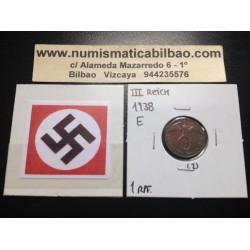 ALEMANIA 1 REICHSPFENNIG 1938 E ESVASTICA NAZI III REICH MONEDA DE COBRE SC 2