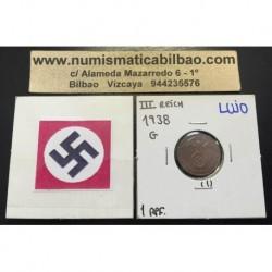 ALEMANIA 1 REICHSPFENNIG 1938 G ESVASTICA NAZI III REICH MONEDA DE COBRE @LUJO@ 1
