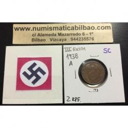 ALEMANIA 2 REICHSPFENNIG 1938 E ESVASTICA NAZI III REICH MONEDA DE COBRE SC 2