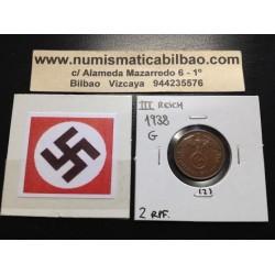 GERMANY DRITTES REICH 2 REICHSPFENNIG 1938 G COPPER UNC