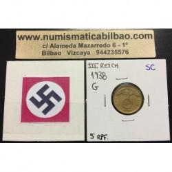 ALEMANIA 5 REICHSPFENNIG 1938 G ESVASTICA NAZI III REICH RARA 2