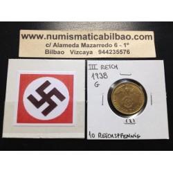 GERMANY DRITTES REICH 10 REICHSPFENNIG 1938 G BRASS XF+ 2