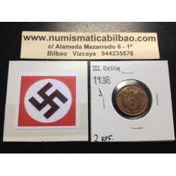 ALEMANIA 2 REICHSPFENNIG 1938 G ESVASTICA NAZI III REICH MONEDA DE COBRE @LUJO - RARA@