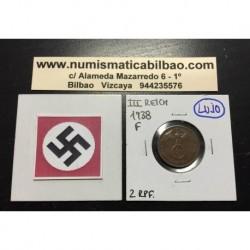 ALEMANIA 2 REICHSPFENNIG 1938 F ESVASTICA NAZI III REICH MONEDA DE COBRE SC