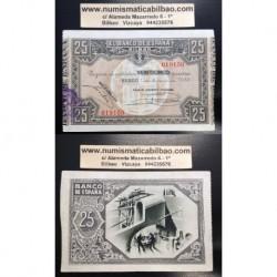 1937 EUSKADI 25 PESETAS CAJA AHORROS VIZCAINA EBC 019150 BILBAO