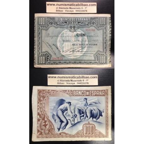 1937 EUSKADI 100 PESETAS BANCO de VIZCAYA MBC 383712 BILBAO