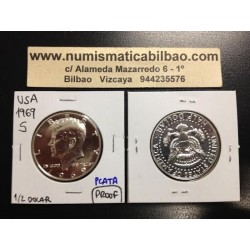 ESTADOS UNIDOS 1/2 DOLAR 1969 S KENNEDY PROOF HALF DOLLAR PLATA