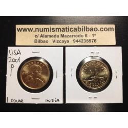 ESTADOS UNIDOS 1 DOLAR 2001 D INDIA SACAGAWEA MONEDA DE LATON SC USA $1 Dollar coin