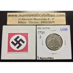 ALEMANIA 1 MARCO 1936 J AGUILA NAZI III REICH MONEDA DE NICKEL REICHSMARK SC- 1