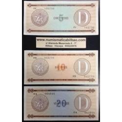 @OFERTA@ CARIBE 5+10+20 PESOS 1985 1995 CERTIFICADO DE DIVISA Letra D 3 BILLETES EBC