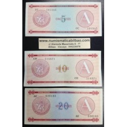 ..CUBA 5+10+20 PESOS 1985 1995 CERTIFICADO DE DIVISA Letra A EBC