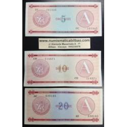 @OFERTA@ CARIBE 5+10+20 PESOS 1985 1995 CERTIFICADO DE DIVISA Letra A 3 BILLETES EBC