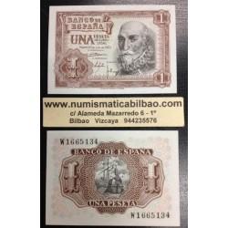 ESPAÑA 1 PESETA 1953 MARQUES DE SANTA CRUZ Serie W Pick 144 BILLETE PLANCHA SIN CIRCULAR Spain banknote