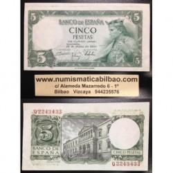 @ERROR BILLETE DESCENTRADO@ ESPAÑA 5 PESETAS 1954 REY ALFONSO X EL SABIO Pick 146 EBC Spain