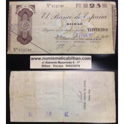 BILBAO 25 PESETAS 1936 CAJA DE AHORROS y MONTE DE PIEDAD 672740