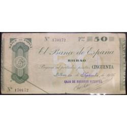 BILBAO 50 PESETAS 1936 CAJA DE AHORROS VIZCAINA 170172 EUZKADI