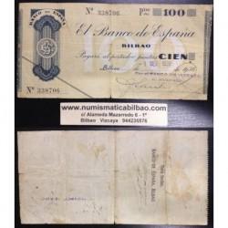 BILBAO 100 PESETAS 1936 BANCO DE VIZCAYA 338706 EUZKADI